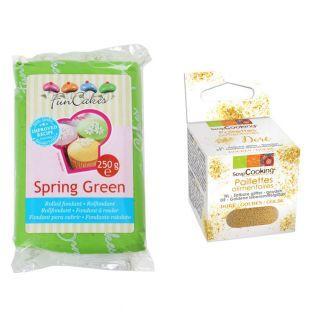 Zuckerteig 250 g Grün + Goldene...