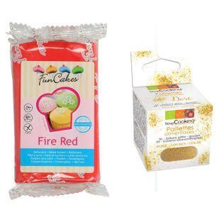 Pâte à sucre rouge 250 g + paillettes...