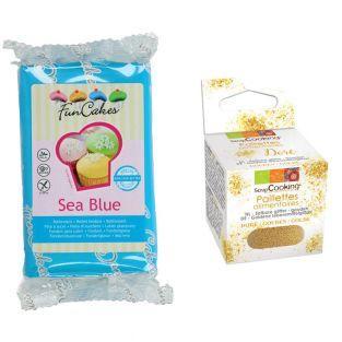 Pasta de azúcar azul mar 250 g +...