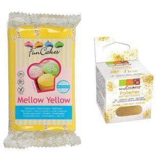 Pâte à sucre jaune melon 250 g +...