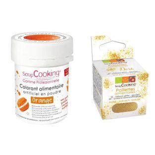 Food coloring Orange + Edible golden...