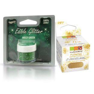 Brillo comestible verde de Navidad +...
