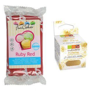 Pasta de azúcar 250 g rojo granate +...