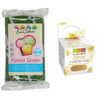 Pâte à sucre 250 g Vert sapin +...