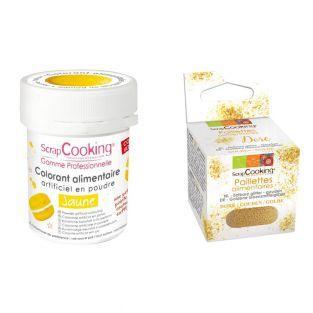 Food coloring Yellow + Edible golden...
