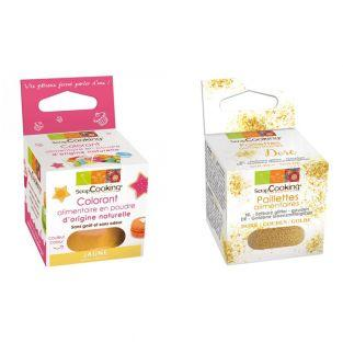 Yellow food colouring + Edible golden...