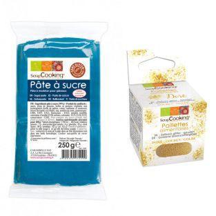 Zuckerteig dunkelblau 250 g + Goldene...