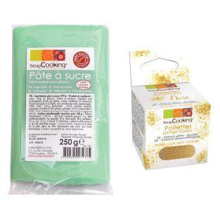 Pasta de azúcar verde claro 250 g +...