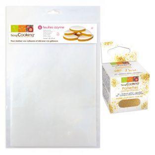 Wafer sheets + Edible golden glitter