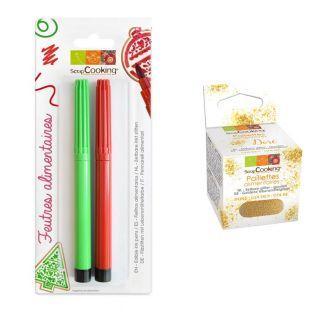 2 Food colouring pens Black & Orange...