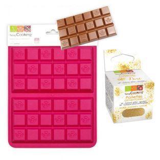 Silikonform für 2 Schokoladentafeln +...