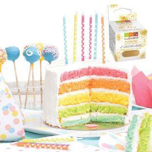 Kit Rainbow Cake + paillettes dorées