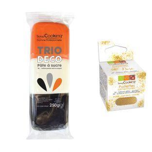 3 sugar pastes orange, white, black...