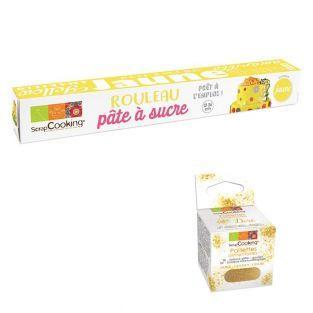 Pâte à sucre en rouleau Ø 36 cm jaune...
