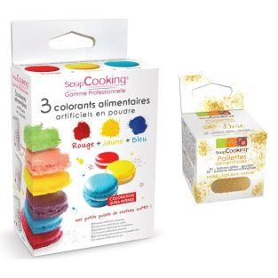 3 food colorings yellow-red-blue +...