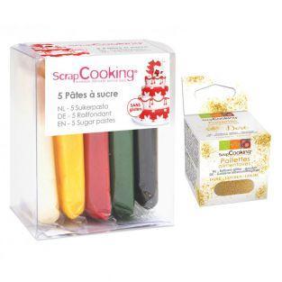 5 pâtes à sucre de Noël + paillettes...