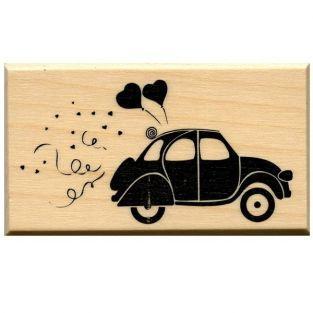 Sello de madera - Coche corazón