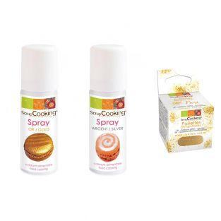 Lebensmittelfarbe Spray x 2 Golden 50...