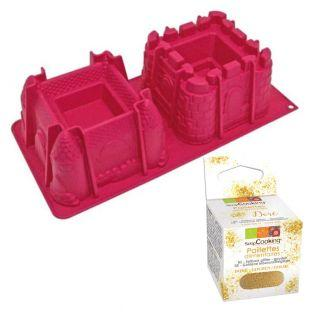 Castle cake mould + Edible golden...