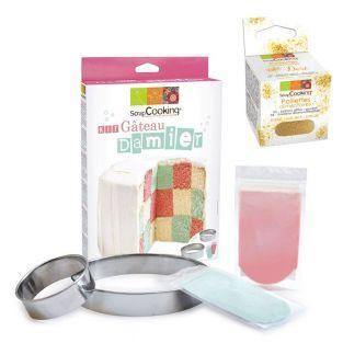 Checkerboard cake kit + Edible golden...