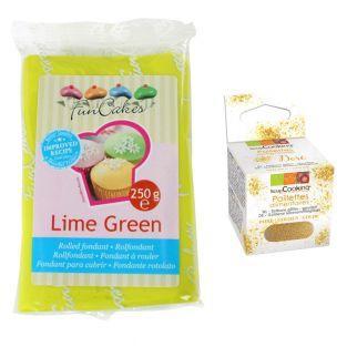 Pasta de azúcar verde lima 250 g +...