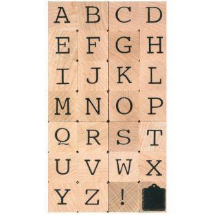 Sello de madera - alfabeto en mayúsculas