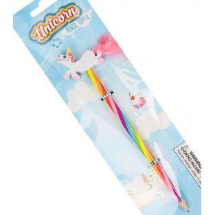 Lápiz arco iris y goma de unicornio