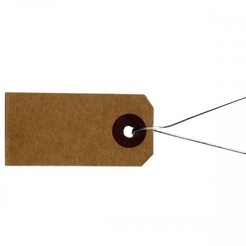 Etiquettes kraft avec fil métallique - 4 x 2 cm