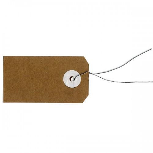 Etiquettes kraft avec fil métallique - 5,5 x 3 cm