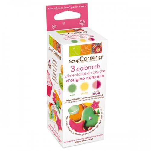 Kit Colorants naturels rouge / vert / jaune