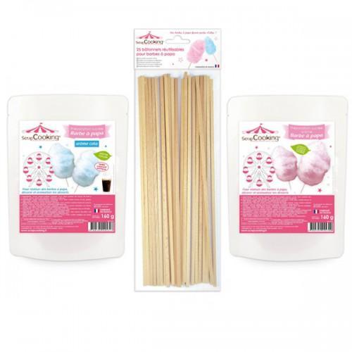 Algodón de azúcar rosa y azul + palillos