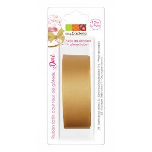 Satin ribbon for cake tower - Golden...
