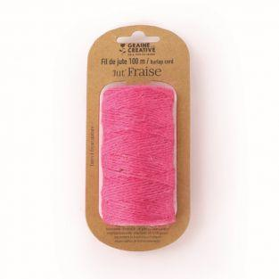 Jute yarn spool - Pink - 100 m x 2 mm