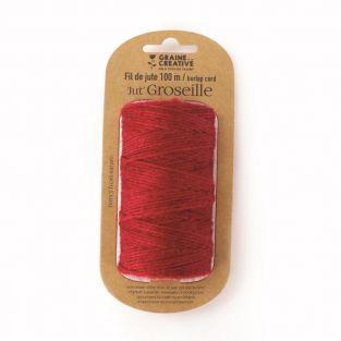 Bobine de fil de jute - Rouge - 100 m...