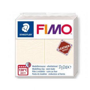 Pâte Fimo 57 g - Effet cuir - Ivoire