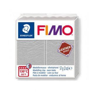 Pâte Fimo 57 g - Effet cuir - Gris pâle