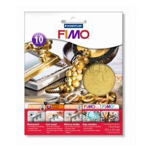Bolsa de 10 láminas de metal dorado