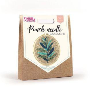 Punch needle box - fern foliage ø 20 cm