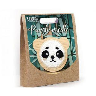 Punch needle box - Small panda ø 15 cm
