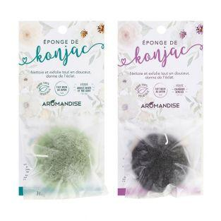 Duo of Konjac sponges with green clay...
