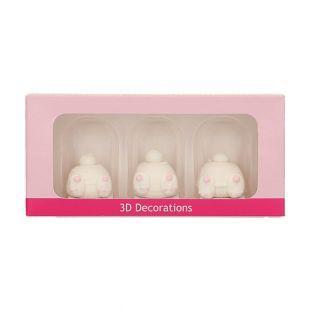 3 Zucker 3D-Dekorationen - Hasenschwänze