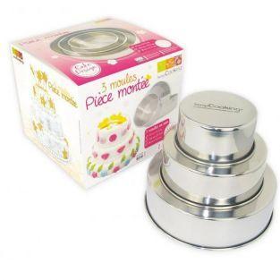 3 Moldes de pastel de acero inox -...