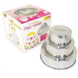 3 stainless steel pastry molds -...