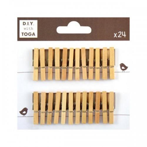 24 mini pinces à linge bois