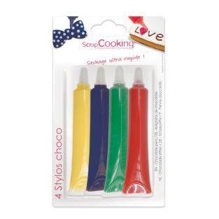 4 stylos chocolat - Rouge, bleu,...