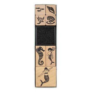 7 timbri in legno con inchiostro -...