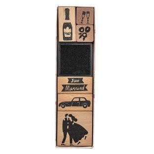 6 francobolli in legno con calamaio -...