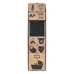 9 francobolli in legno con tampone...