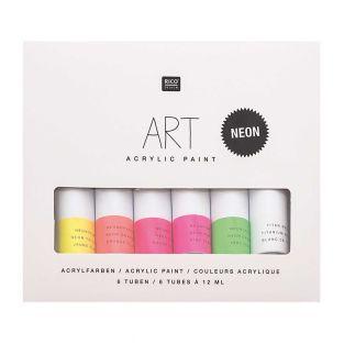 Acrylic paint set - Fluo - 6 x 12 ml