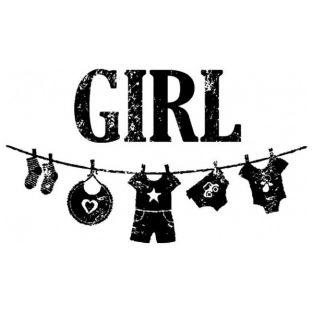 Tampon bois naissance fille - Girl